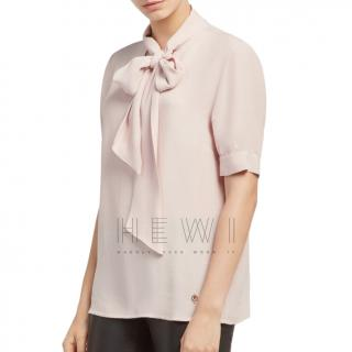 Trussadi Jeans Pink Crepe Pussy Cat Bow Blouse