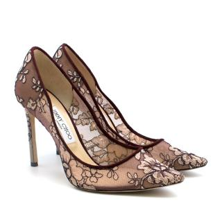 Jimmy Choo Wine Love 100 Lace Pumps