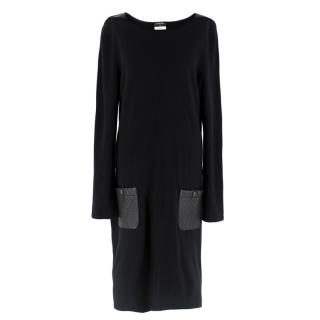 Chanel Black Wool Leather Detailed Shift Dress