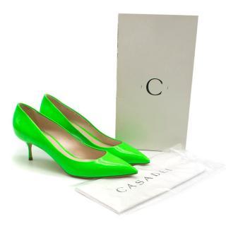 Casadei Neon Green Kitten Heel Pumps