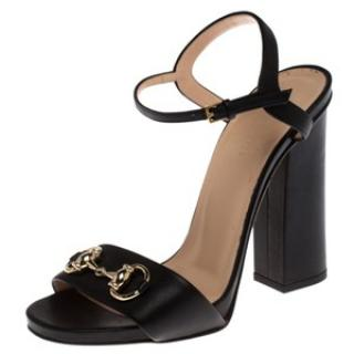 Gucci Black Block Heel Horsebit Sandals