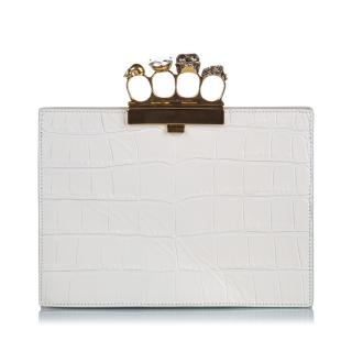 Alexander McQueen Embossed Leather Knuckle Clutch Bag