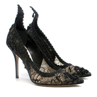 Dior Black Lace Beaded High Back Pumps