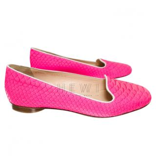 Gina Pink Python Ballerina Flats