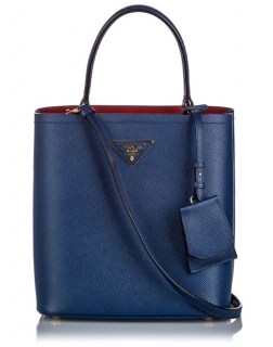 Prada Navy Saffiano Leather Bucket Tote