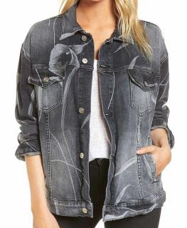 Hudson Jeans Bandit Floral Noir Boyfriend Trucker Jacket