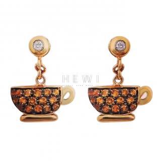 Francesca Villa Joie de Vivre Tea for Two Citrine & Diamond Earrings