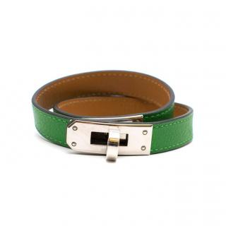Hermes Bamboo Swift Leather Kelly Double Tour Bracelet