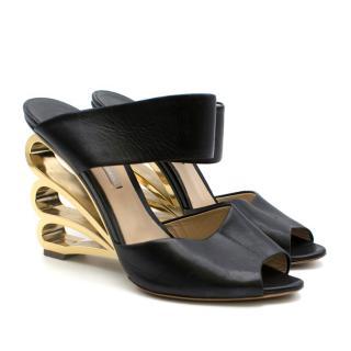 Nicholas Kirkwood Black Mules W/ Gold Metal Wedge Heel