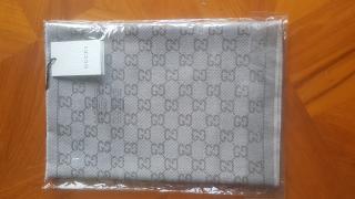 Gucci Beige Monogram Jacquard Wool Scarf