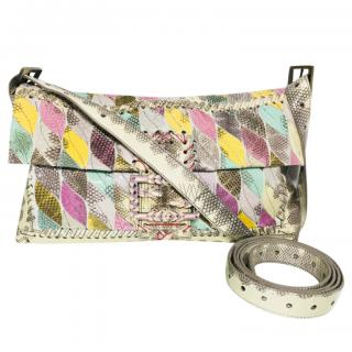 Fendi Multicoloured Python Large Baguette Bag