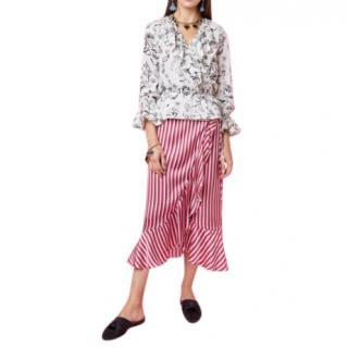 Rixo x Laura Jackson Striped Midi Skirt