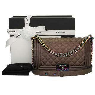 Chanel Bronze Iridescent Leather Boy Bag