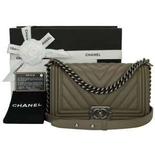 Chanel Calfskin Chevron Boy Bag