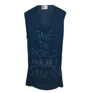 Lanvin embellished Save The World navy sleeveless top