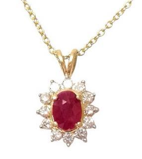 Bespoke 1ct ruby and diamond pendant