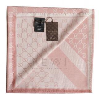 Gucci pink wool/silk monogram square scarf/shawl