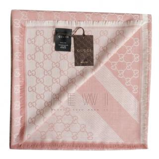 Gucci pink wool/silk monogram square scarf/shawl