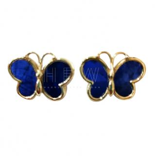 Bespoke lapis lazuli butterfly pierced earrings