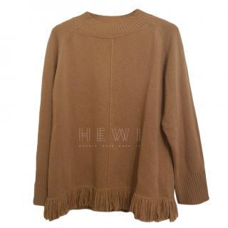 Max Mara Camel Knit Fringe Sweater