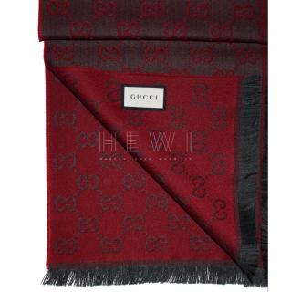 Gucci Red Monogram Wool Scarf