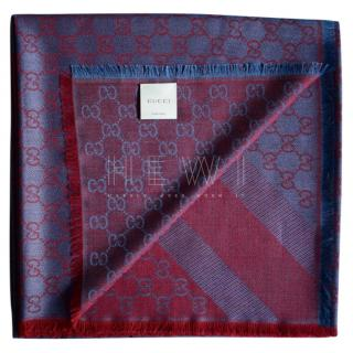 Gucci Wool & SIlk Blend Red & Blue Scarf