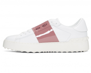 Valentino White & Antique Rose Open Trainers