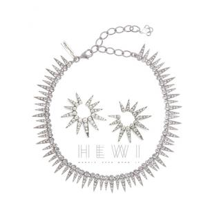 Oscar De La Renta Sea Urchin Crystal Necklace and Earrings