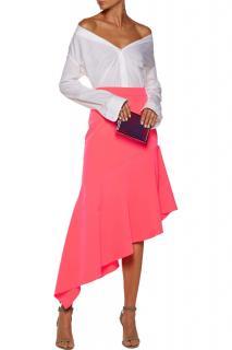 Milly asymmetric crepe pink midi skirt