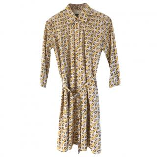Burberry Prorsum Printed Silk Blend Shirt Dress
