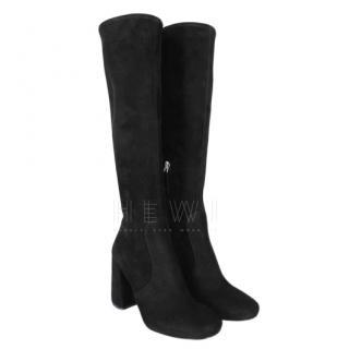 Prada Black Suede Knee Boots