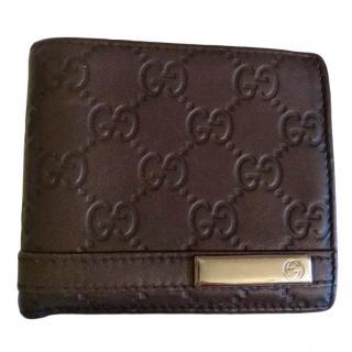 Gucci Brown Leather Monogram Bifold Wallet