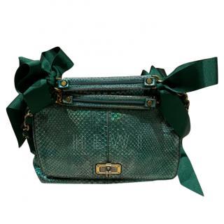 Lanvin VIntage Emerald Watersnake Happy Bag