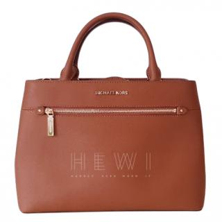 Michael Kors Hailee Crossgrain Leather Satchel