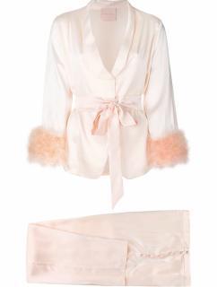 Maguy De Chadirac Peach Marabou Feather Trim Pyjamas