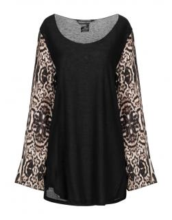 Thomas Wylde Black Tunic W/ Animal Print Sleeves