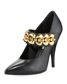 Prada Leather Jeweled-Strap Mary Jane Pumps