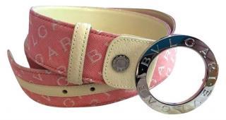 Bvlgari Pink Canvas Logo Belt