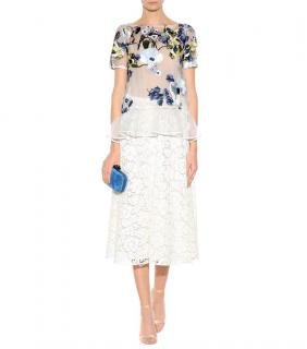 Erdem Blue Noelle Floral-embroidered Top