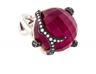Stephen Webster red quartz and diamond cocktail ring