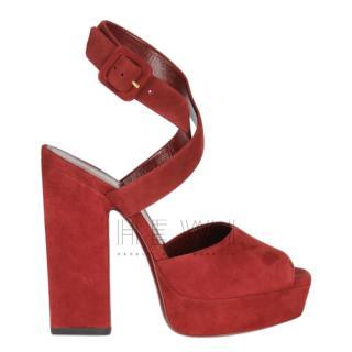 Saint Laurent Red Suede Debbie Sandals