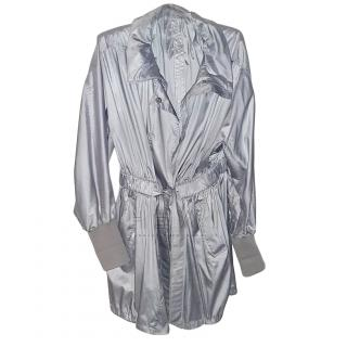 Burberry Metallic Silver Nylon Raincoat