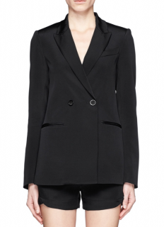 Theory Black Silk Double Breasted Blazer