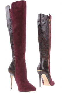 Michael Michael Kors Wine Suede & Snakeskin Print Leather Boots