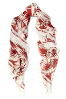 Anya Hindmarch cashmere blend claret and off-white Diamonds scarf