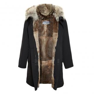 Yves Salamon Rabbit Fur Lined Washed Black Parka