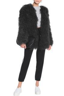 Joseph Black Mongolian Fur Jacket