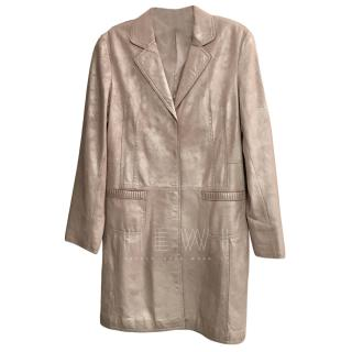Elie Tahari Metallic Leather Coat