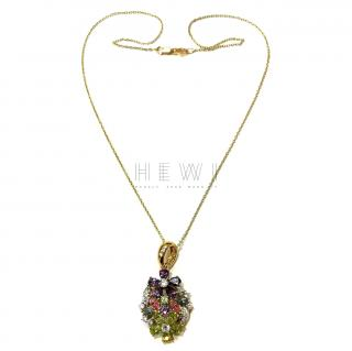 Bespoke Precious Gemstone 18ct Gold Pendant Necklace