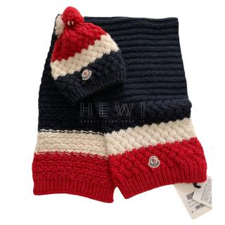 Moncler Navy, Red & White Alpaca Wool Blend Scarf & Hat